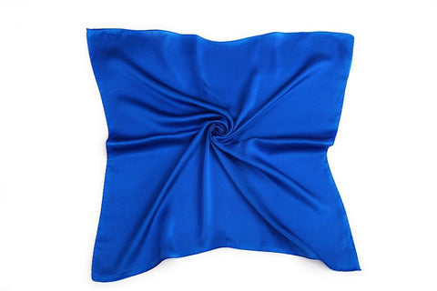 Yangtze Store Small Square Silk Satin Scarf Plain Blue Color XFJ303