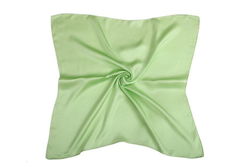 Yangtze Store Small Square Silk Satin Scarf Plain Green Color XFJ309
