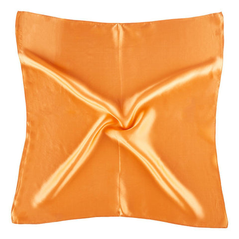 Yangtze Store Small Square Silk Satin Scarf Plain Orange Color XFJ310