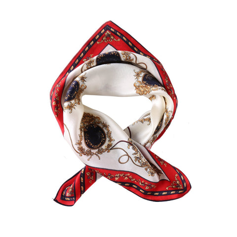 Yangtze Store Small Square Silk Scarf Neckerchief Red Theme Carriage Print XFJ224