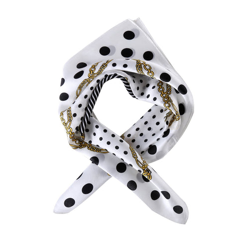 Yangtze Store Small Square Silk Scarf Neckerchief White Theme Polka Dot Print XFJ226