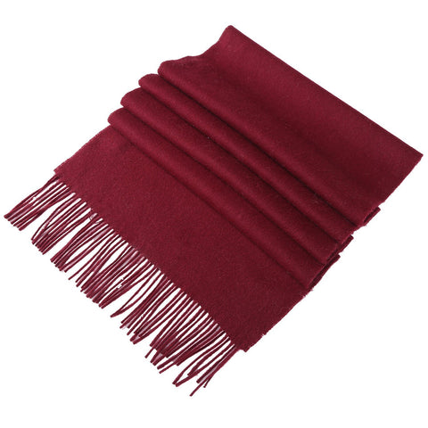 Yangtze Store Solid Color Woolen Scarf Burgundy WO4008