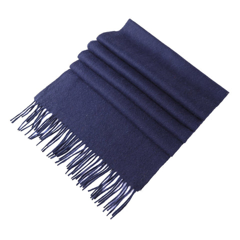 Yangtze Store Solid Color Woolen Scarf Navy WO4005