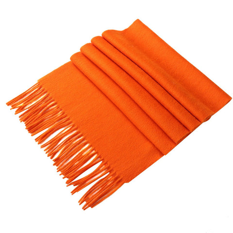 Yangtze Store Solid Color Woolen Scarf Orange WO4006
