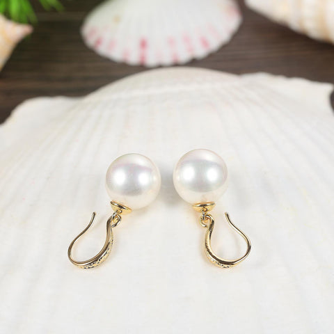 Yangtze Store White/Gold Pearl Earrings PEA002