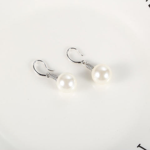 Yangtze Store White/Silver Pearl Earrings PEA102