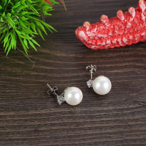 Yangtze Store White/Silver Stud Pearl Earrings PSE001