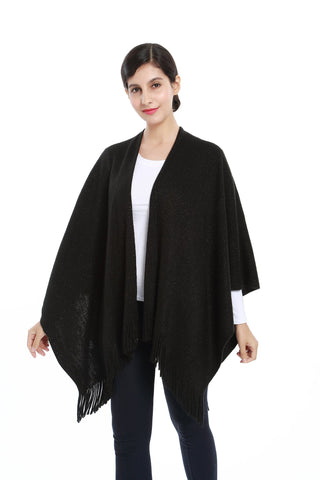 Yangtze Store Women's Knitted Kimono Cardigan Cape Solid Black with Golden Threads CAR202