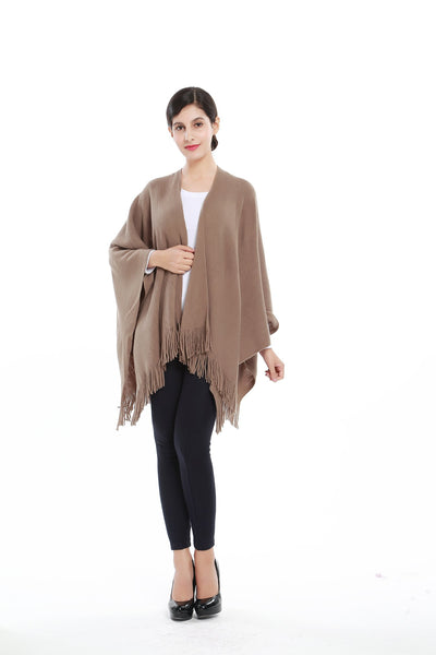Women S Knitted Kimono Cardigan Cape Solid Brown Color