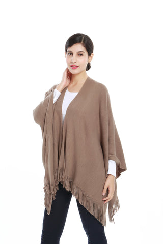 Yangtze Store Women's Knitted Kimono Cardigan Cape Solid Brown Color CAR201