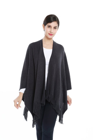 Yangtze Store Women's Knitted Kimono Cardigan Cape Solid Dark Gray with Golden Threads CAR204