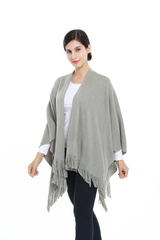 Yangtze Store Women's Knitted Kimono Cardigan Cape Solid Gray Color CAR206