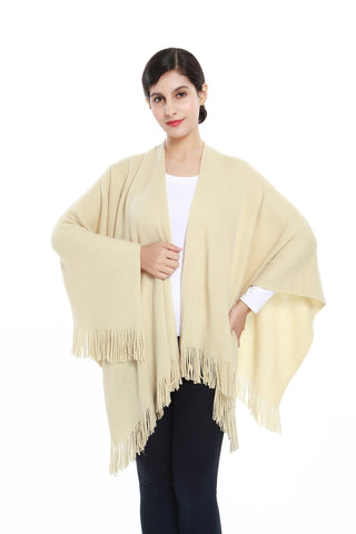 Yangtze Store Women's Knitted Kimono Cardigan Cape Solid Ivory Color CAR207