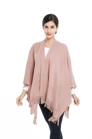 Yangtze Store Women's Knitted Kimono Cardigan Cape Solid Mauve Color CAR205