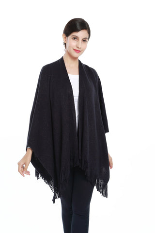 Yangtze Store Women's Knitted Kimono Cardigan Cape Solid Navy with Golden Threads CAR203