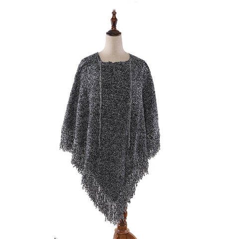Yangtze Store Women's Knitted Poncho Gray with Tassels CAR103
