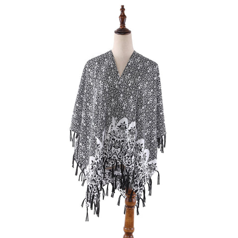 Yangtze Store Women's Sheer Kimono Cardigan Cape Black and White CAR017