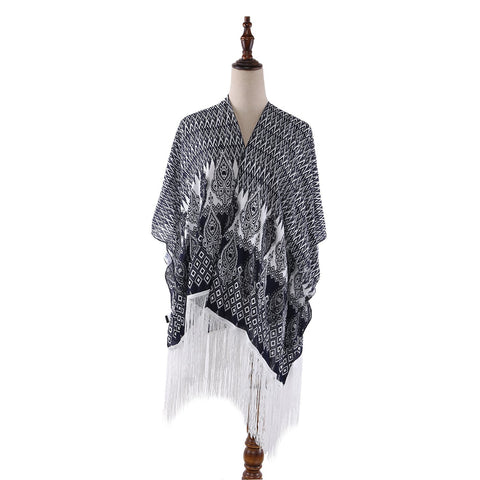Yangtze Store Women's Sheer Kimono Cardigan Cape Black and White Houndstooth  Print CAR001