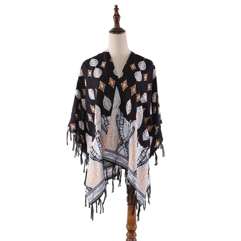 Yangtze Store Women's Sheer Kimono Cardigan Cape Black Theme Paisley Print CAR012
