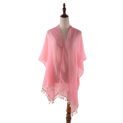Yangtze Store Women's Sheer Kimono Cardigan Cape Solid Pink Color CAR015
