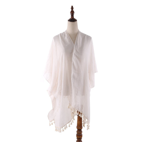 Yangtze Store Women's Sheer Kimono Cardigan Cape Solid White Color CAR014