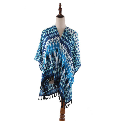 Yangtze Store Women's Sheer Kimono Cardigan Cape Turquoise Theme Peacock Feather Print CAR013