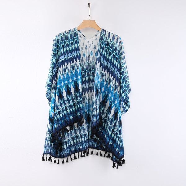 Sheer Kimono Cardigan Cape Turquoise Peacock Feather Print