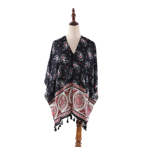 Yangtze Store Women's Sheer Poncho Cape Black and Red Paisley Print CAR005