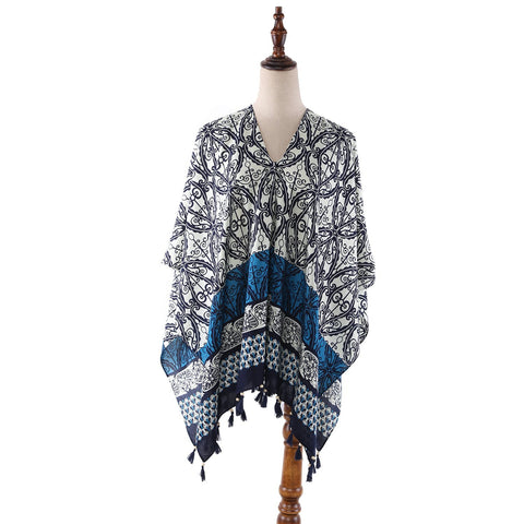Yangtze Store Women's Sheer Poncho Cape Black and White Geometric Print CAR008