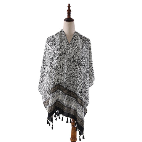 Yangtze Store Women's Sheer Poncho Cape Black and White Paisley Print CAR010