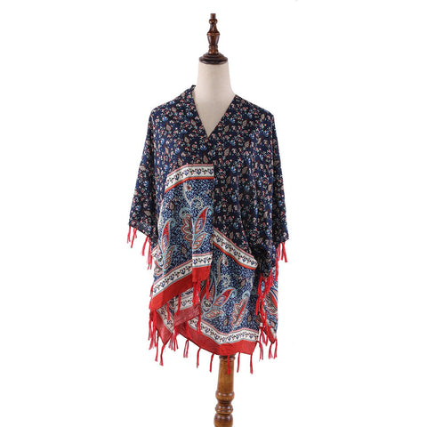 Yangtze Store Women's Sheer Poncho Cape Navy and Red Paisley Print CAR009