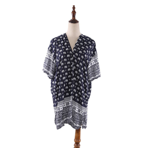 Yangtze Store Women's Sheer Poncho Cape Navy Theme Elephant Print CAR006