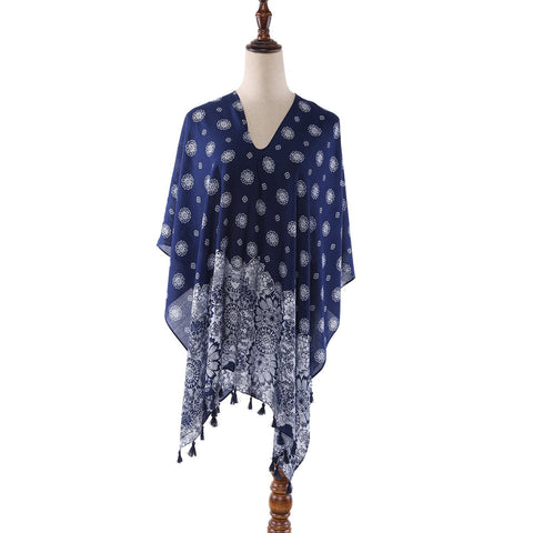 Yangtze Store Women's Sheer Poncho Cape Navy Theme Snowflake Print CAR011