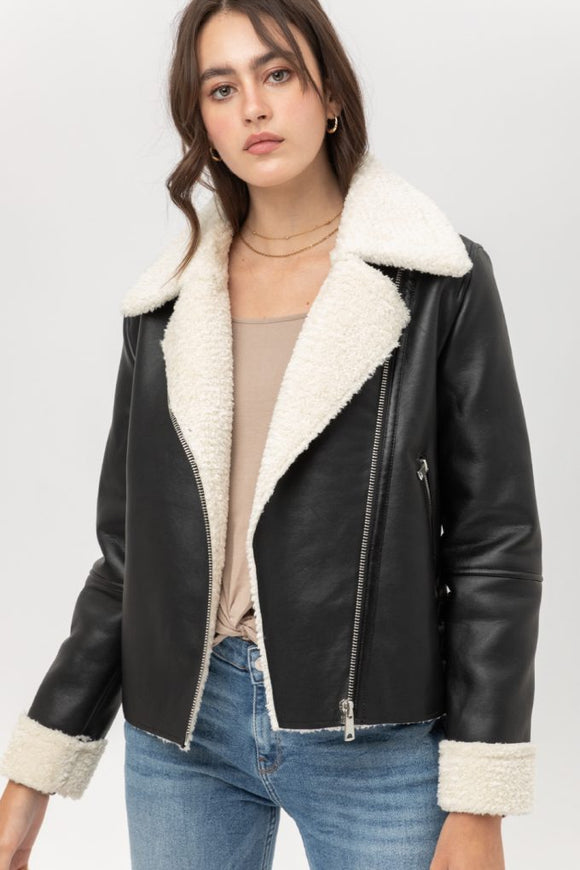 Aviator faux leather jacket