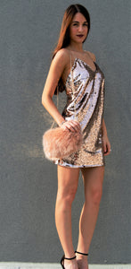 Manhattan Sequin Mini Dress- Champagne (gold)