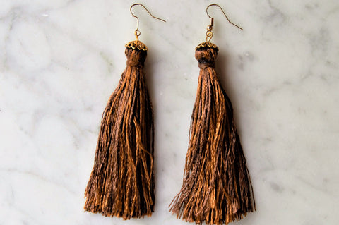 Single Tassel Brown Earrings