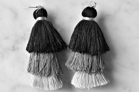 Short Ombre Tassel Earrings