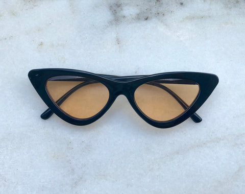 Audrey Sunglasses - Black / Tan lenses
