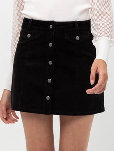 Blythe Corduroy Black Mini Skirt