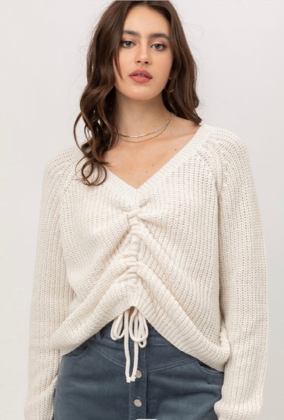 Ivory Drawstring Knit Sweater