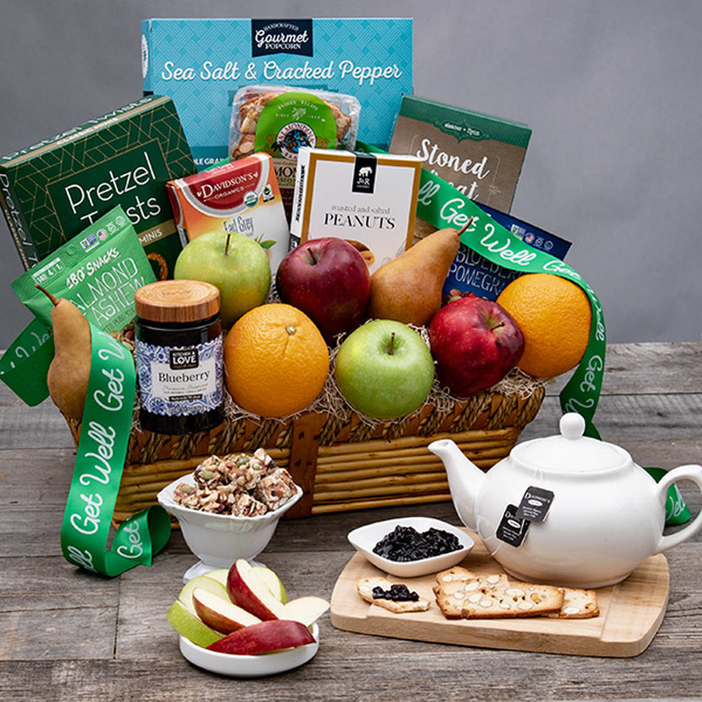 Get Well Wishes Fruits & Snacks Gift Basket