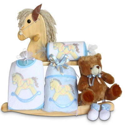 Baby Boy Rocking Horse Gift Set-Natural Wood