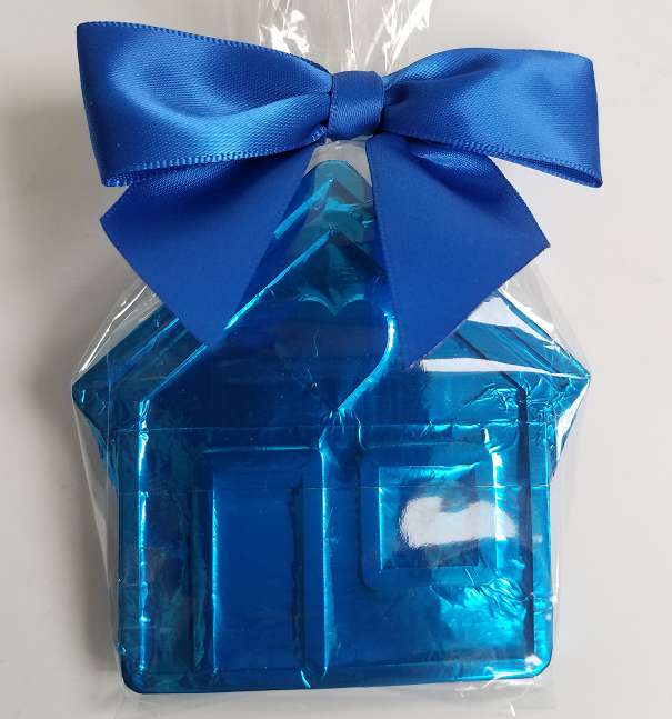Blue Chocolate House with Heart © 2020 by Heartwarming Treasures®