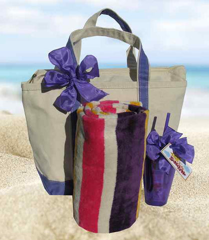 Day At The Beach Tote Fuschia (c) 2019 by Heartwarming Treasures Inc