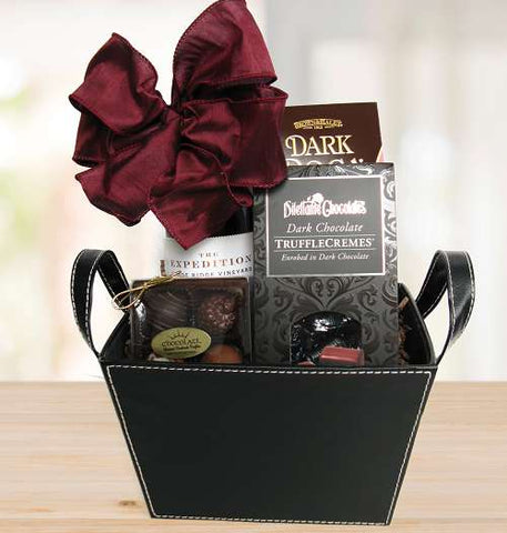 Red Wine and Chocolates Gift Basket (c) 2021 by Heartwarming Treasures