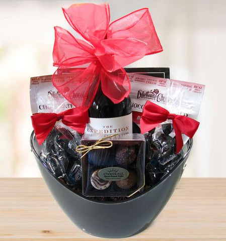 Red Wine and Chocolates Deluxe Gift Basket (c) 2021 Heartwarming Treasures®