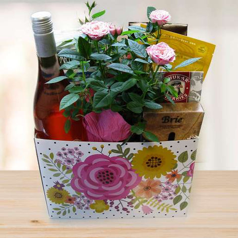 Roses and Rosé Snacks Gift Basket © 2021 by Heartwarming Treasures®