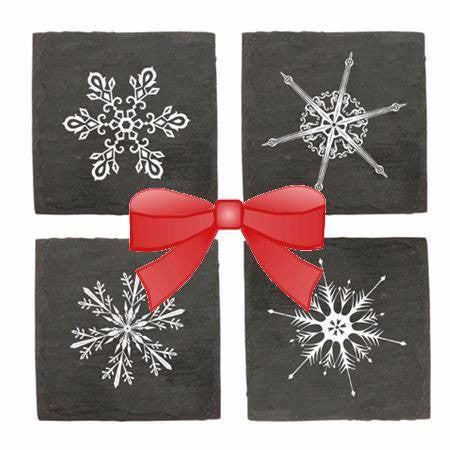 Slate Coasters with Snowflakes Set of 4 (c) 2016 Heartwarming Treasures (R)