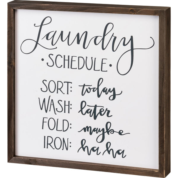 Inset Box Sign - Laundry Schedule