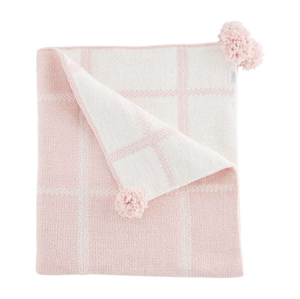 Pink Plaid Chenille Blanket